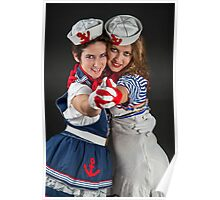 two fancy dress female sailors  Poster