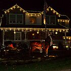 Charming House With Christmas Lights, A Horse and Carriage by Jane Neill-Hancock