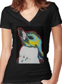 Penguin /black Women's Fitted V-Neck T-Shirt