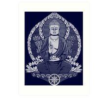 Gautama Buddha White Halftone Art Print