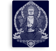 Gautama Buddha White Halftone Canvas Print