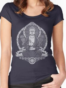 Gautama Buddha White Halftone Women's Fitted Scoop T-Shirt