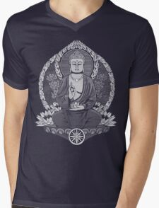 Gautama Buddha White Halftone Mens V-Neck T-Shirt