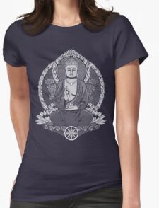 Gautama Buddha White Halftone Womens Fitted T-Shirt