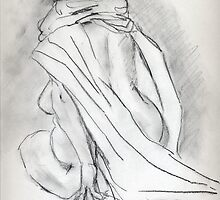 Model draped in heavy cloth 060 by Sylvia Karall