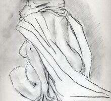 Model draped in heavy cloth 060 by Sylvia Karall