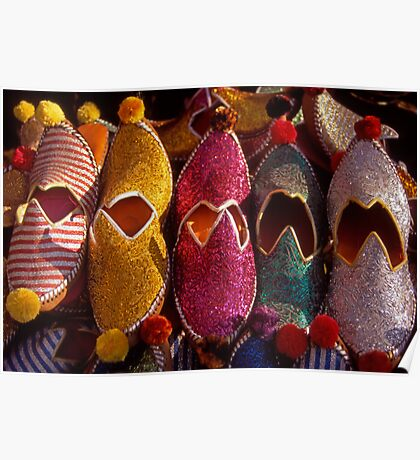 Turkish slippers for sale in Bodrum. Turkey. Poster
