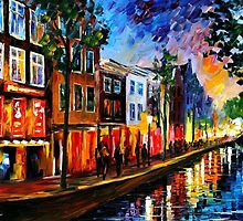 Amsterdam, Red Lights — Buy Now Link - www.etsy.com/listing/211932026 by Leonid  Afremov