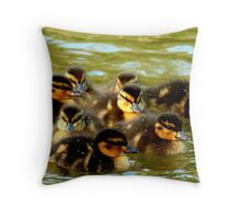 We're Fluffy Jewels - Ducklings - NZ - Southland Throw Pillow
