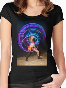 Psychedelic Hula Hoop at night  Women's Fitted Scoop T-Shirt