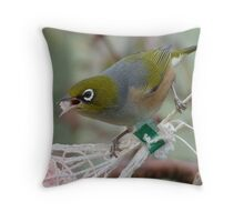 Talking with a mouth full! - Silvereye - Wax Eye - New Zealand Throw Pillow