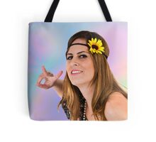 Teen Hippie flower child on psychedelic background  Tote Bag