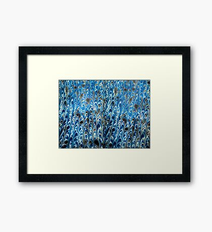 marbled paper - ink blue sea Framed Print