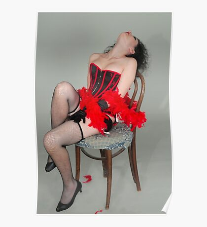 Young sexy woman in corset and fishnet stockings  Poster
