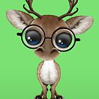 Cute Curious Nerdy Reindeer Wearing Glasses Green by Jeff Bartels