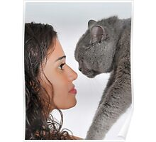 young female owner and a British Shorthair (AKA British blue) cat Poster