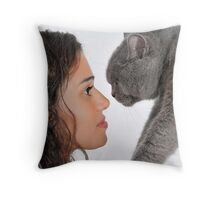young female owner and a British Shorthair (AKA British blue) cat Throw Pillow