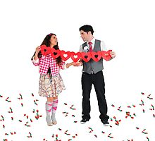 Young Couple with a heart shaped paper chain  by PhotoStock-Isra