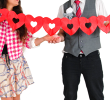 Young Couple with a heart shaped paper chain  Sticker