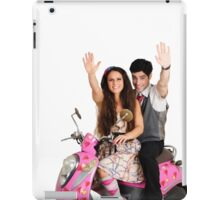 Valentine's - young couple on a pink scooter decorated with hearts  iPad Case/Skin