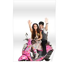 Valentine's - young couple on a pink scooter decorated with hearts  Poster