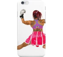 Female boxer flexes her muscles  iPhone Case/Skin