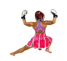 Female boxer flexes her muscles  by PhotoStock-Isra