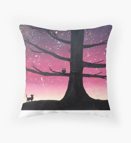 """The Owl & Pussycat"" wall art Original print painting owl decor wall art starry night tree of life Throw Pillow"
