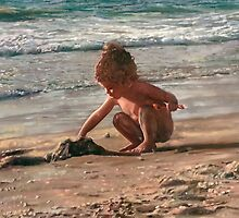child plays on the beach Oil on Canvas by Nurit Shany by PhotoStock-Isra