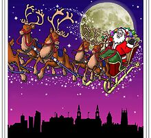Here comes Santa Claus - Leeds skyline by Richard Bell