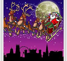 Here comes Santa Claus - Nottingham skyline by Richard Bell