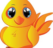Cute cartoon yellow chicken with blue eyes. by AnnArtshock