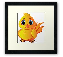 Cute cartoon yellow chicken with blue eyes. Framed Print