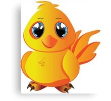 Cute cartoon yellow chicken with blue eyes. Canvas Print