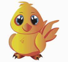 Cute cartoon yellow chicken with blue eyes. Kids Clothes