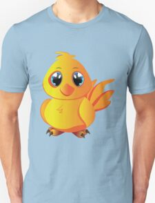 Cute cartoon yellow chicken with blue eyes. Unisex T-Shirt