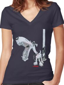 Leashed Women's Fitted V-Neck T-Shirt