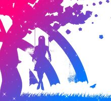 Colorful girl on swing silhouette by AnnArtshock
