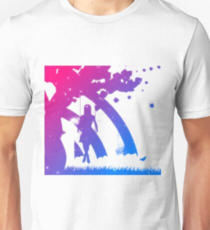 Colorful girl on swing silhouette Unisex T-Shirt