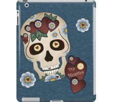 Sugar Skull Hearts and Blue Flowers Denim Background iPad Case/Skin