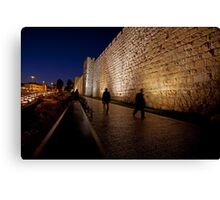 Jerusalem, Old City. The illuminated walls at night  Canvas Print