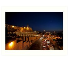 Jerusalem, Old City. The illuminated walls at night  Art Print