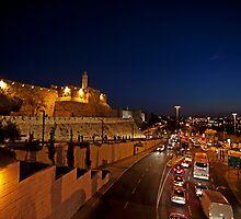 Jerusalem, Old City. The illuminated walls at night  by PhotoStock-Isra