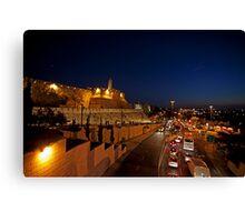 Jerusalem, Old City. The illuminated walls at night  Canvas Print