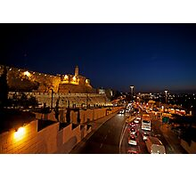 Jerusalem, Old City. The illuminated walls at night  Photographic Print