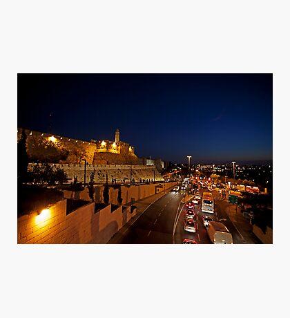 Jerusalem, Old City. The illuminated walls at night  Photographic Print