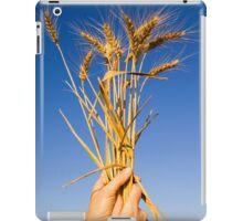 Ripe wheat stalks on a blue sky background  iPad Case/Skin