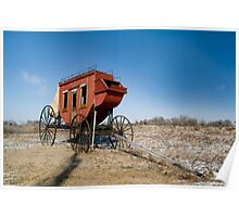 Old wagon on the Oregon trail near fort Kearney Poster