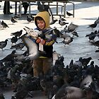pigeons with boy by kristana