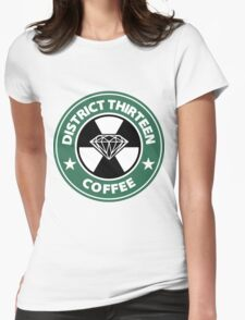 Starbucks District Thirteen Hunger Games Womens Fitted T-Shirt